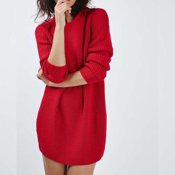 6c02f70534 EUC Topshop Red Ribbed Sweater Dress. M 5bfb6715c617779d763d2573